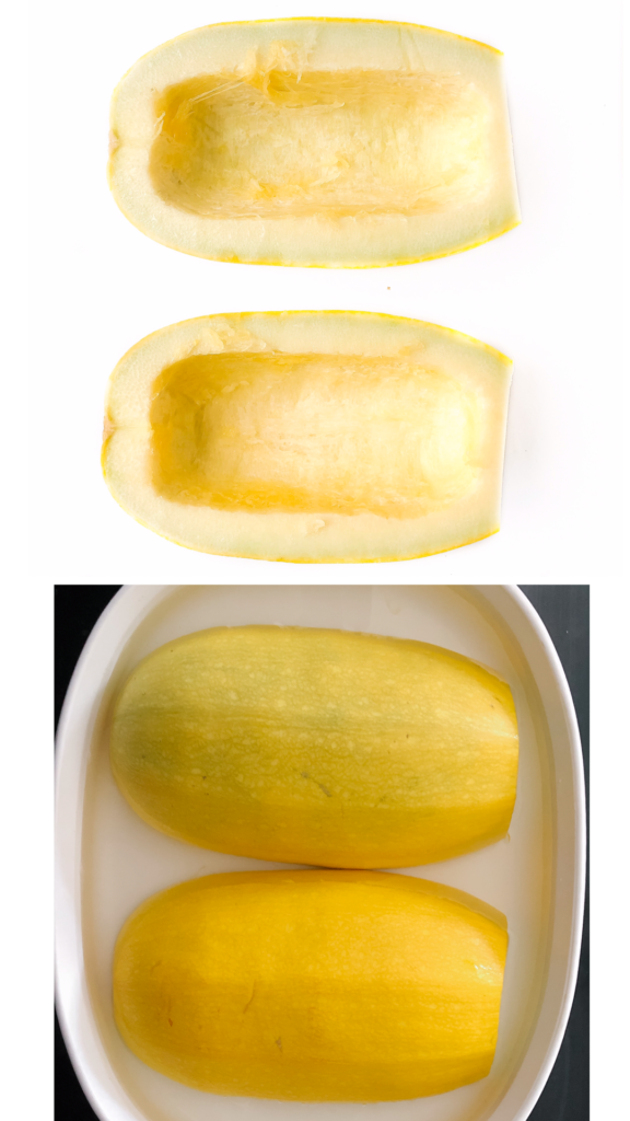 spaghetti squash sliced in half