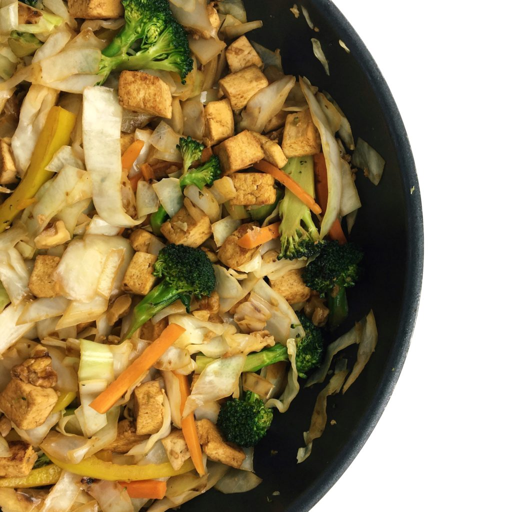 Quick and Healthy Recipes Using Cabbage - Tofu Veggie Noodle Bowl