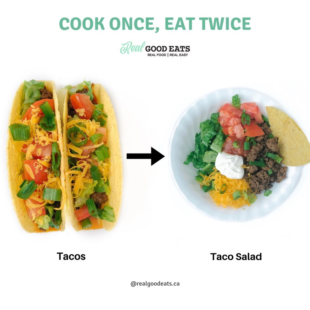How to Reinvent your Leftovers and Cut Your Cooking in Half - taco salad
