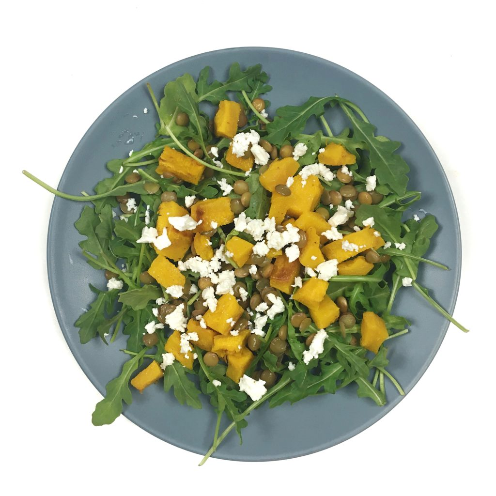 ways to use pumpkin - lentil pumpkin salad with arugula and feta