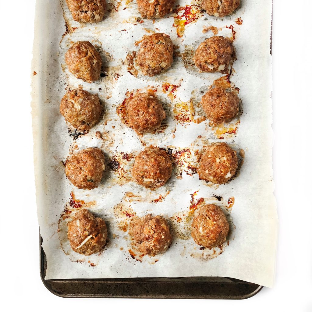 qays to use leftover quinoa - beef quinoa meatballs on a sheet pan