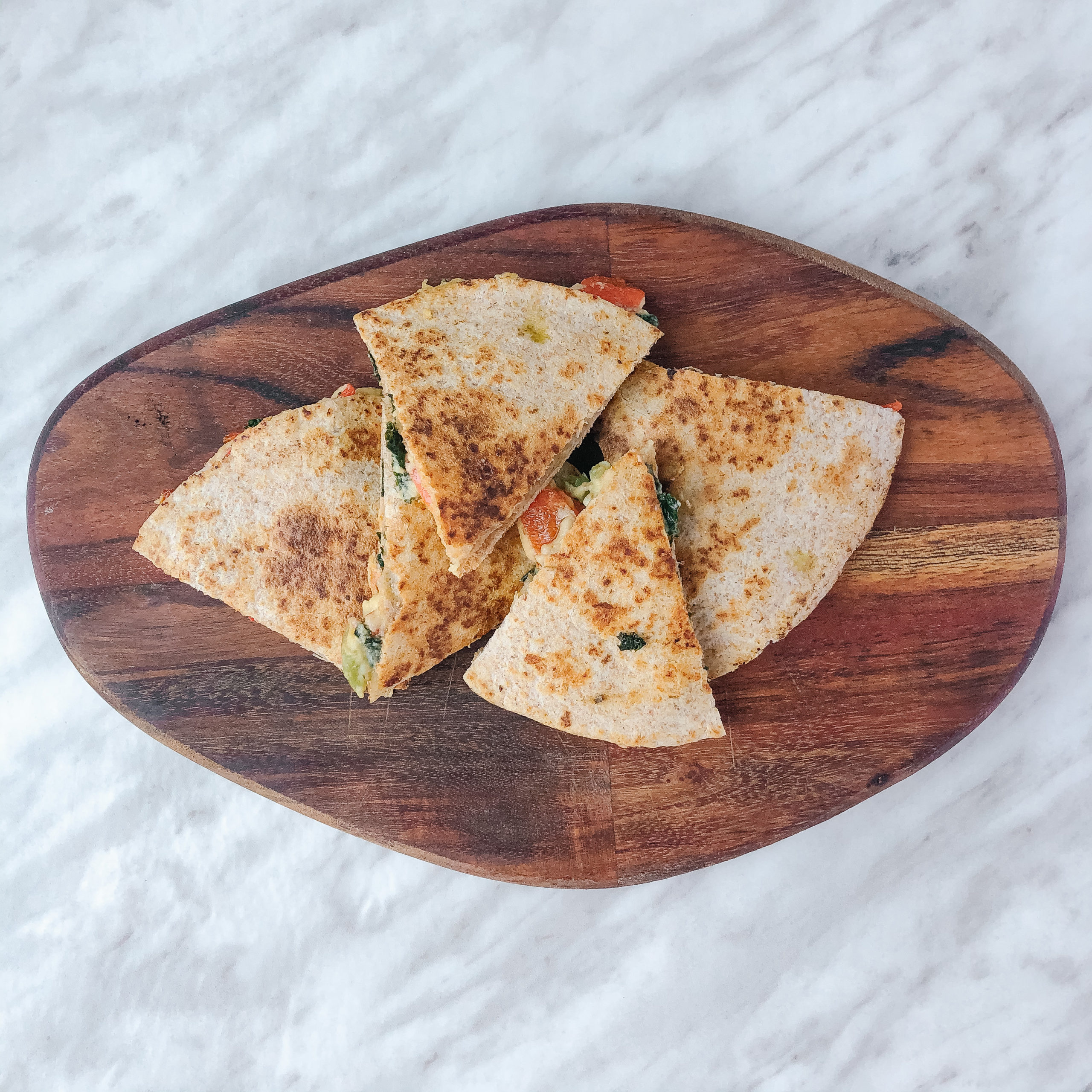 Easy 10-Minute Dairy Free Hummus Quesadilla with Frozen Vegetables