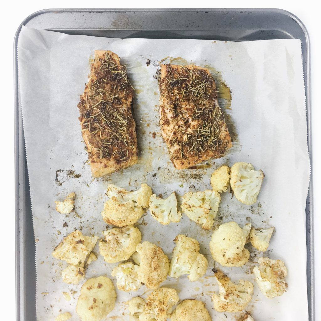 sheet pan salmon and cauliflower with spice rub