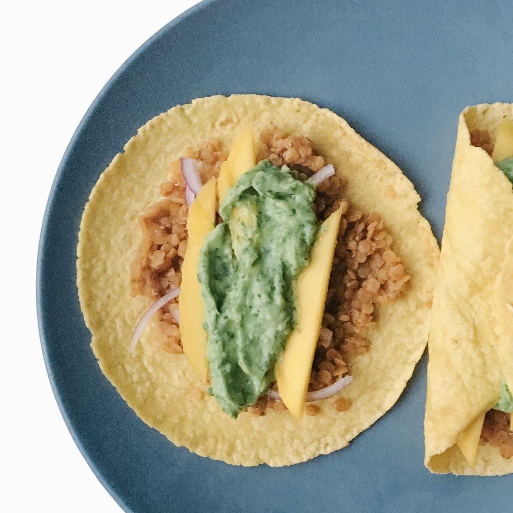 Lentil Tacos with Avocado Cilantro Sauce