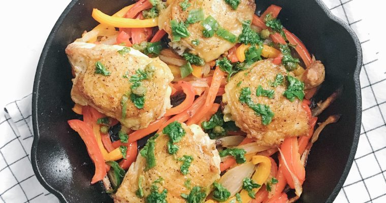 Recipe Review – Crispy Chicken Thighs with Peppers and Salsa Verde