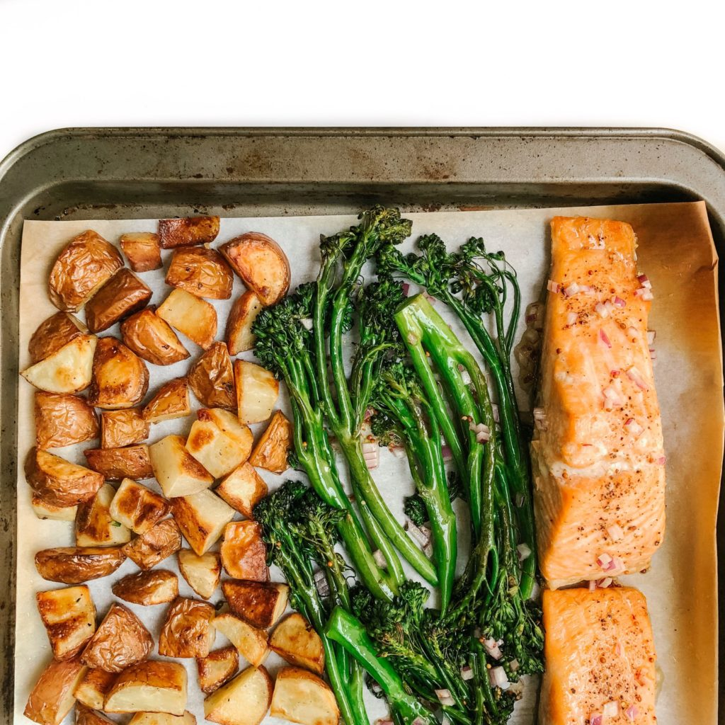 10 Healthy Dinner Recipes Using 6-Ingredients or Less -Sheet Pan Salmon with Potatoes and Broccolini