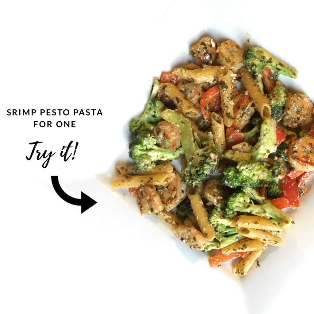 try it - shrimp pesto pasta for one
