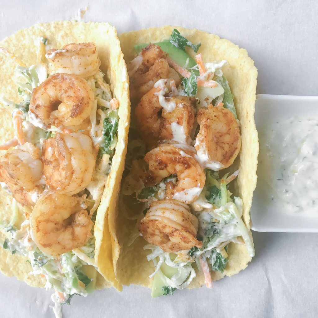 30+ Easy Recipes With Pantry and Freezer Staples - Shrimp Tacos with Cabbage Slaw