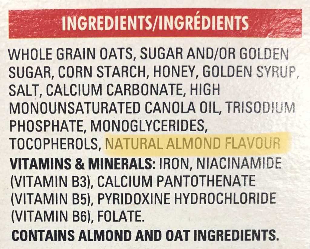 Nutrition label with natural flavours