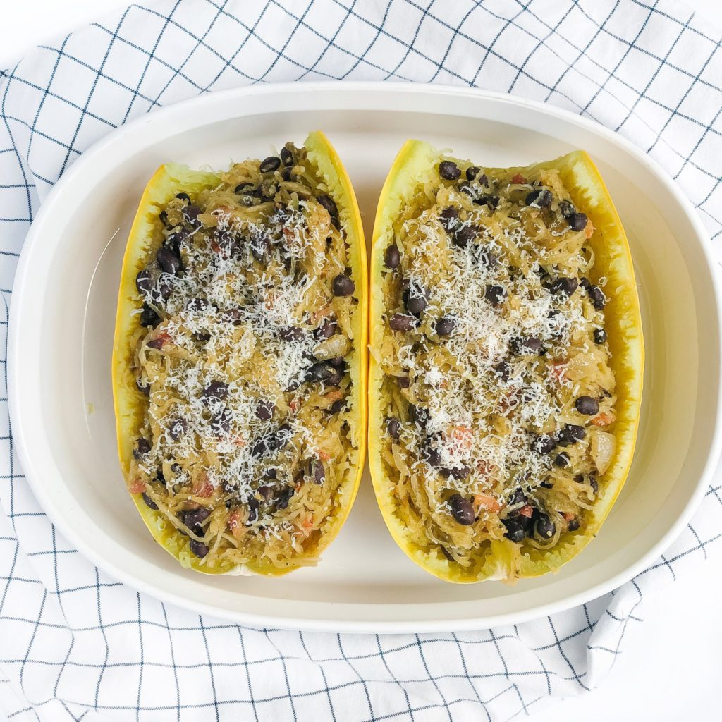 20-minute black bean pesto spaghetti squash