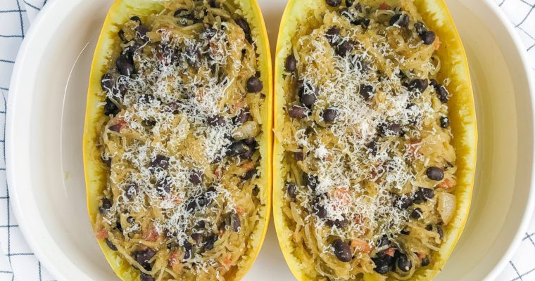 20-Minute Black Bean Pesto Spaghetti Squash