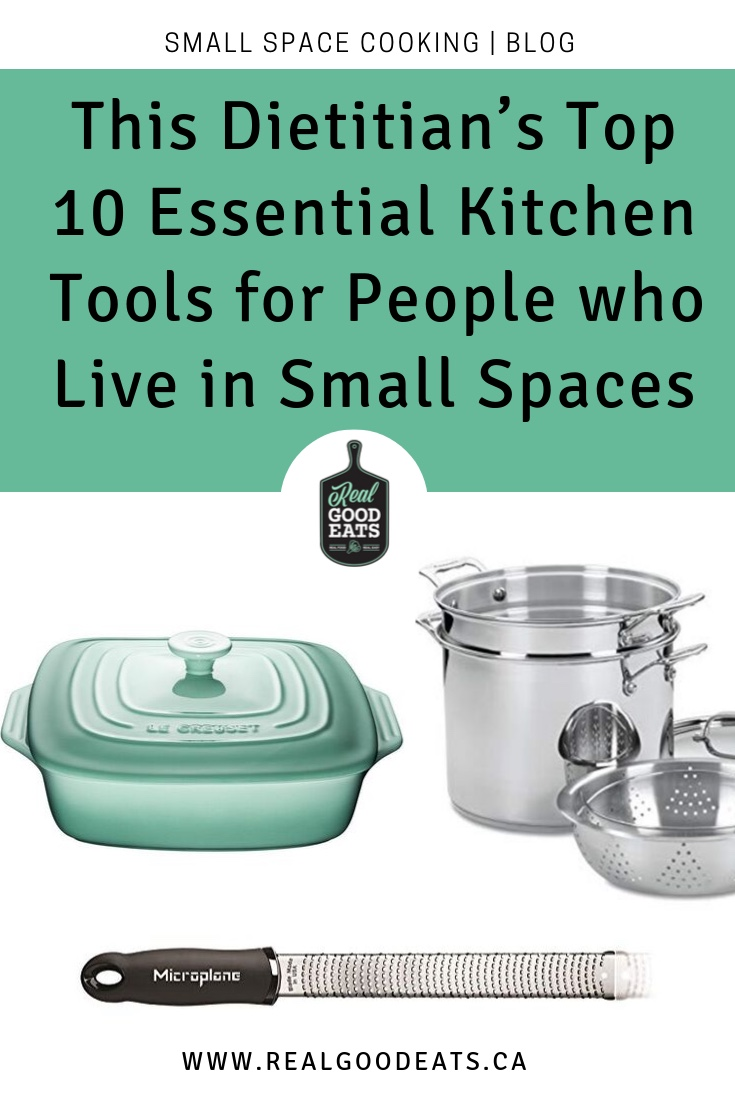 This Dietitian's Top 10 Essential Kitchen Tools for People who Live in Small Spaces blog graphic