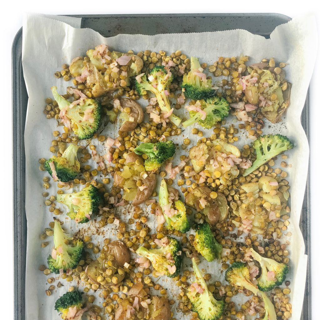 Sheet Pan Smashed Potatoes with Crispy Lentils and Broccoli