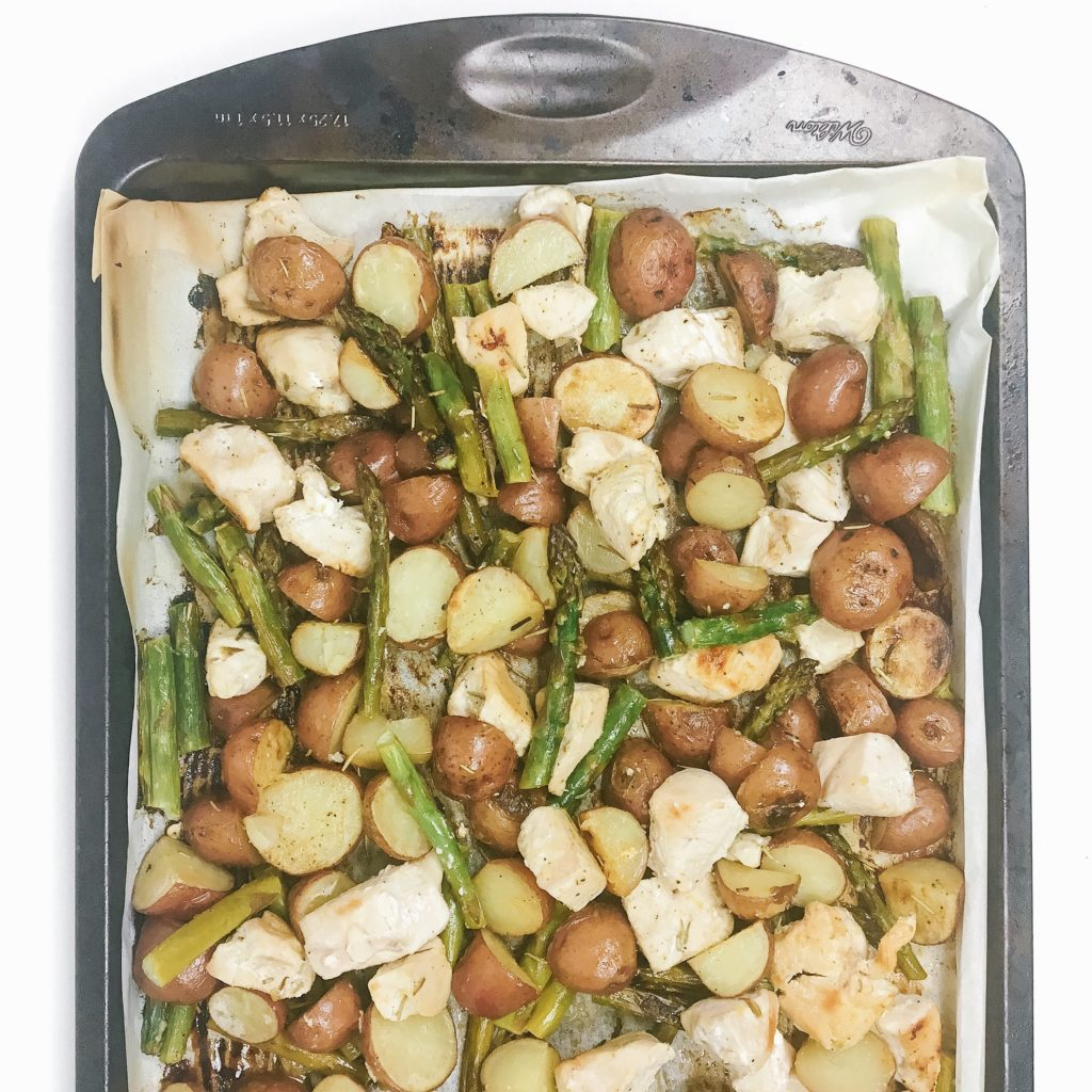 sheet pan lemon chicken with asparagus