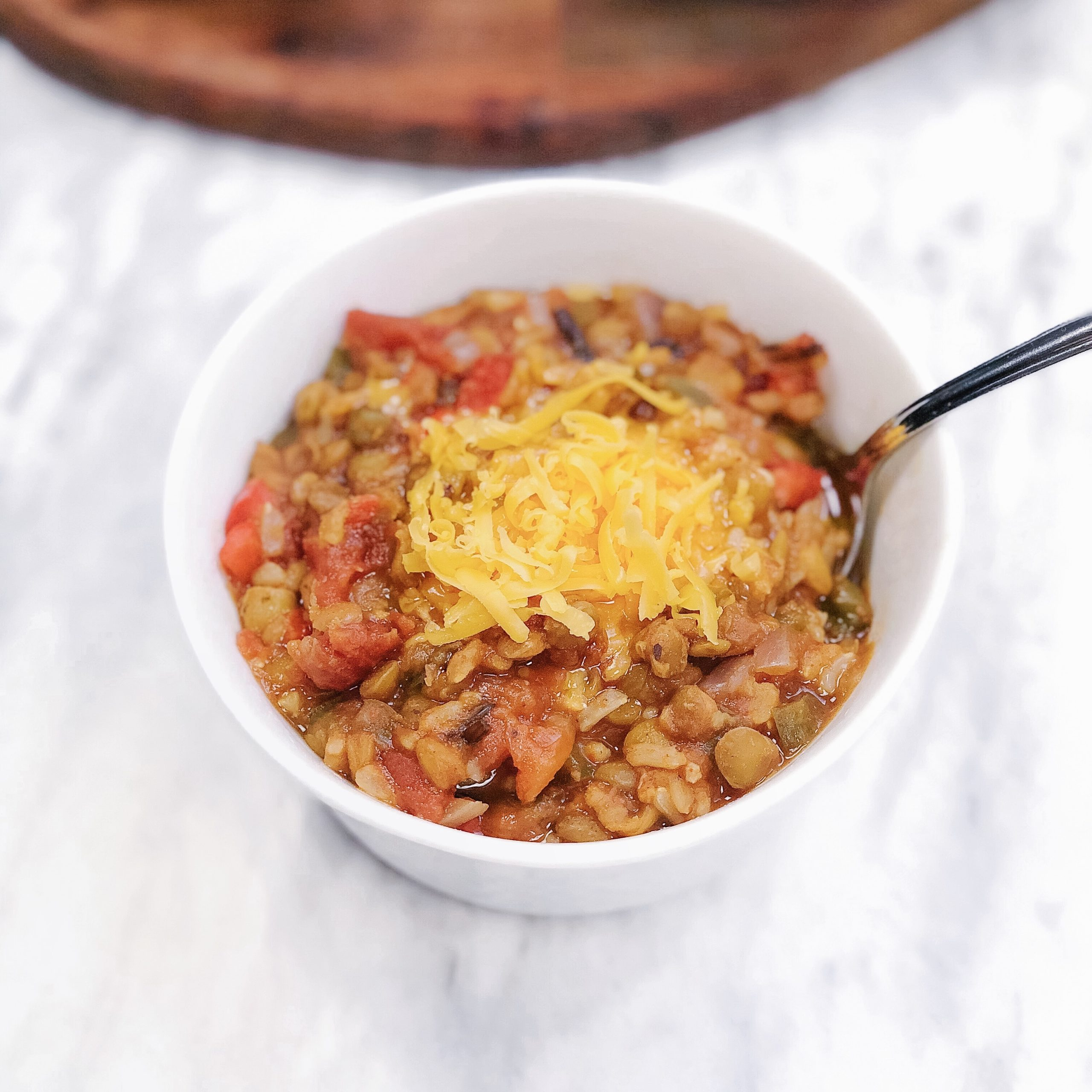 Instant Pot Lentil and Brown Rice Chili