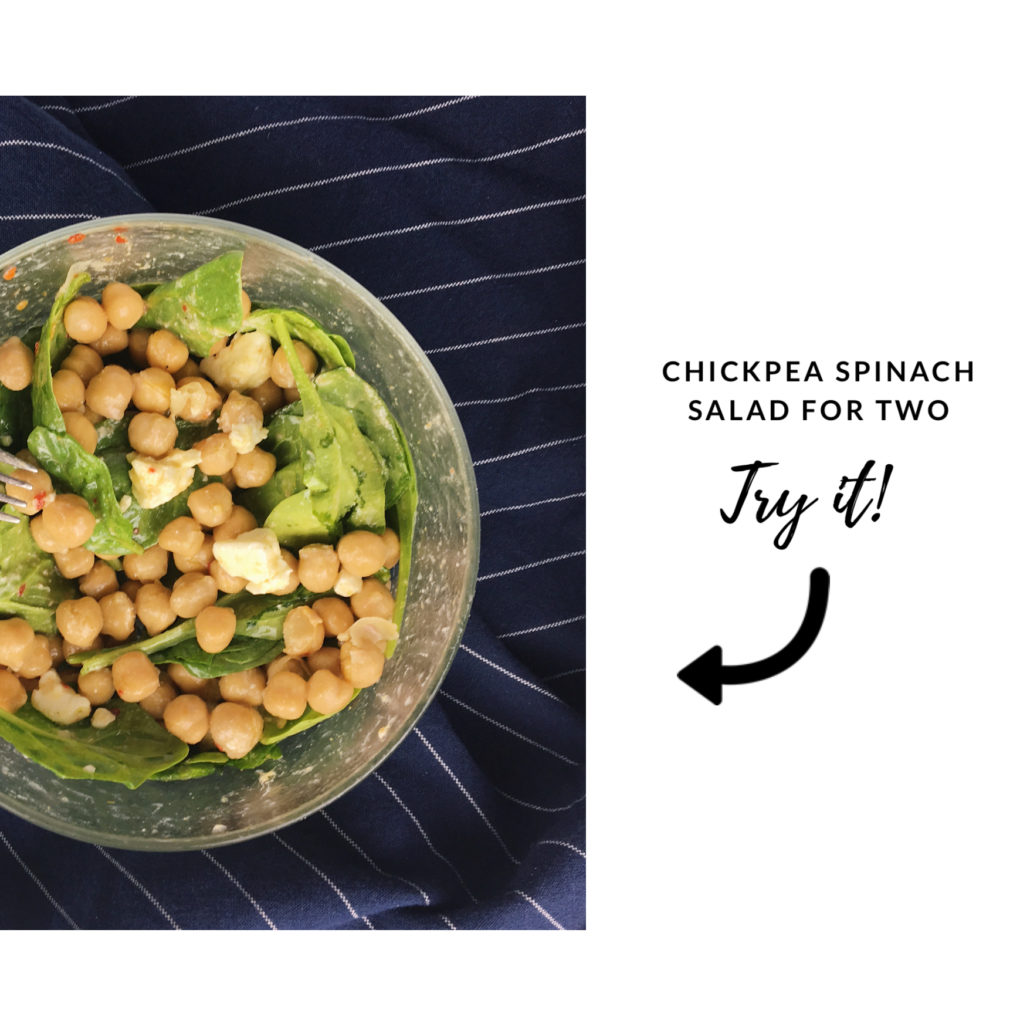 tips that make meal planning for one easier - chickpea spinach salad for two