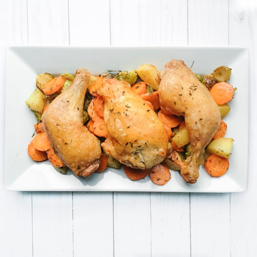 Easy Roasted Chicken, Carrots and Brussels