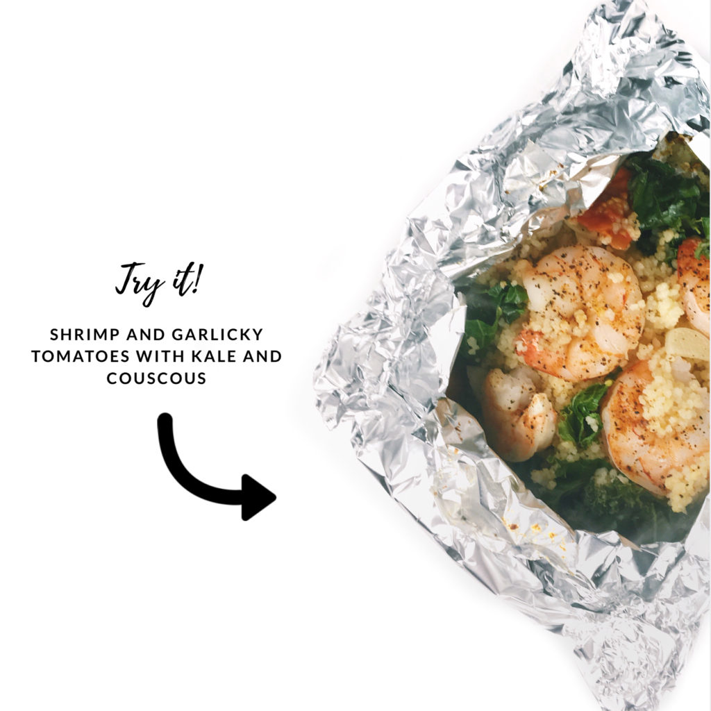 try it - shrimp and garlicky tomatoes with kale and couscous