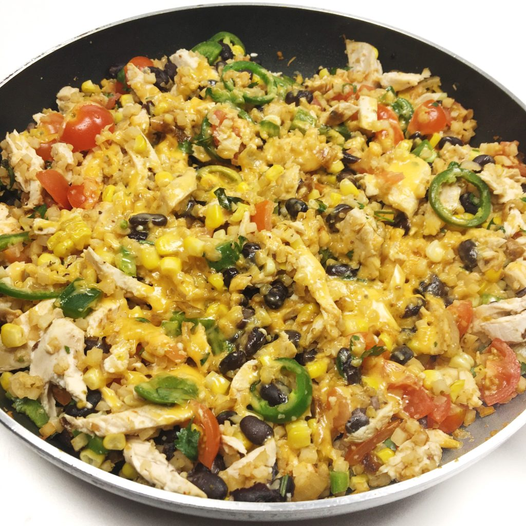 healthy weeknight recipes using cauliflower -  - Cheesy Tex-Mex Cauli Rice