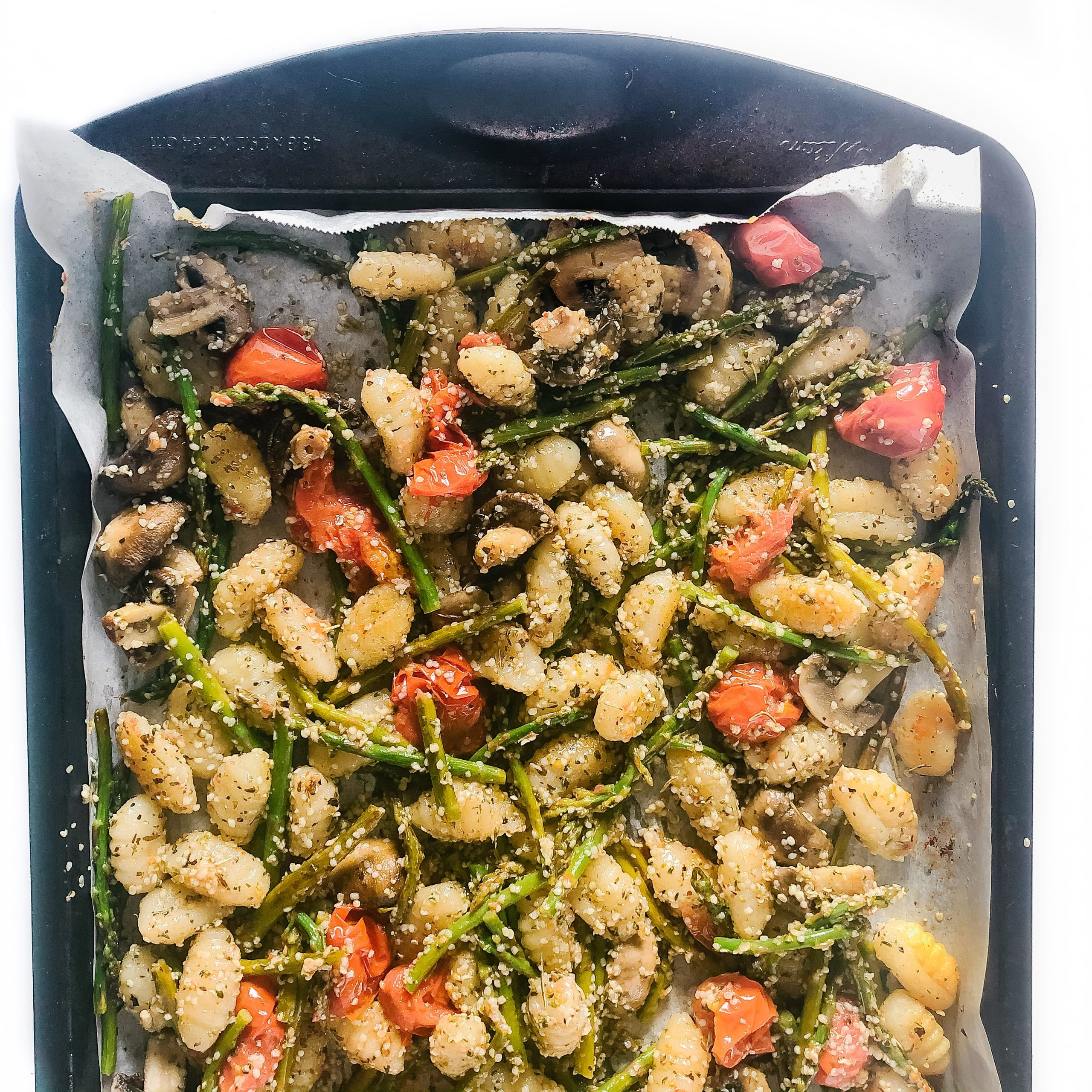 Easy Sheet Pan Roasted Vegetable Gnocchi with Hemp Seeds