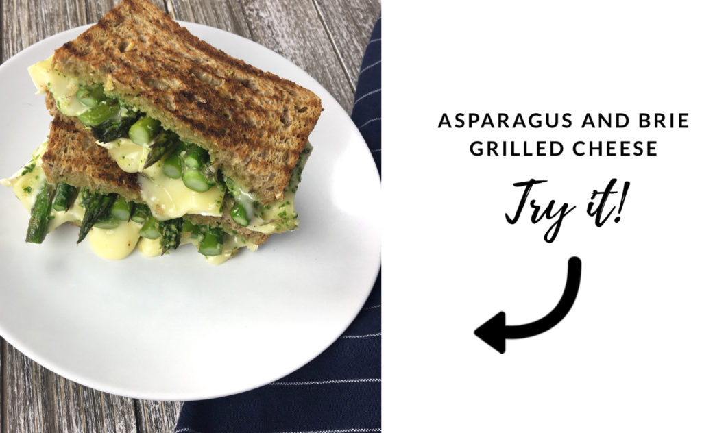 tips to eat more vegetables - try it - asparagus and brie grilled cheese