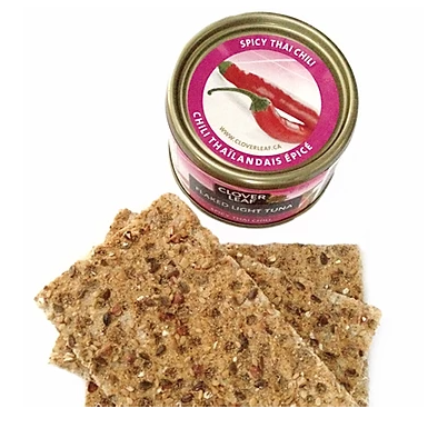 nut-free high protein snack ideas - tuna with crackers