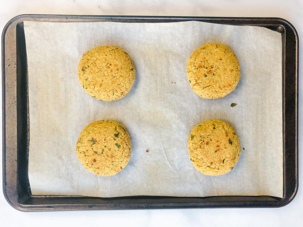 Falafel Inspired Chickpea Patties on Sheet Pan