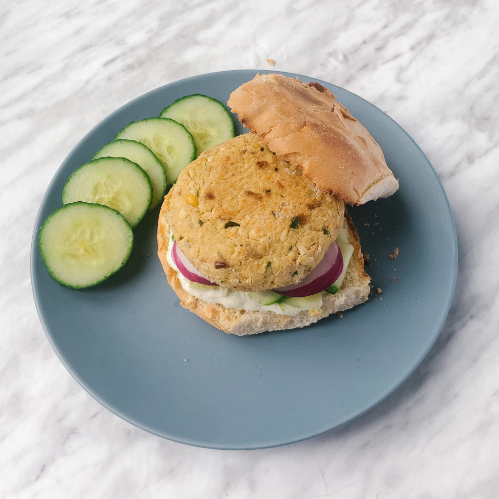 Falafel Inspired Chickpea Patties on a bun