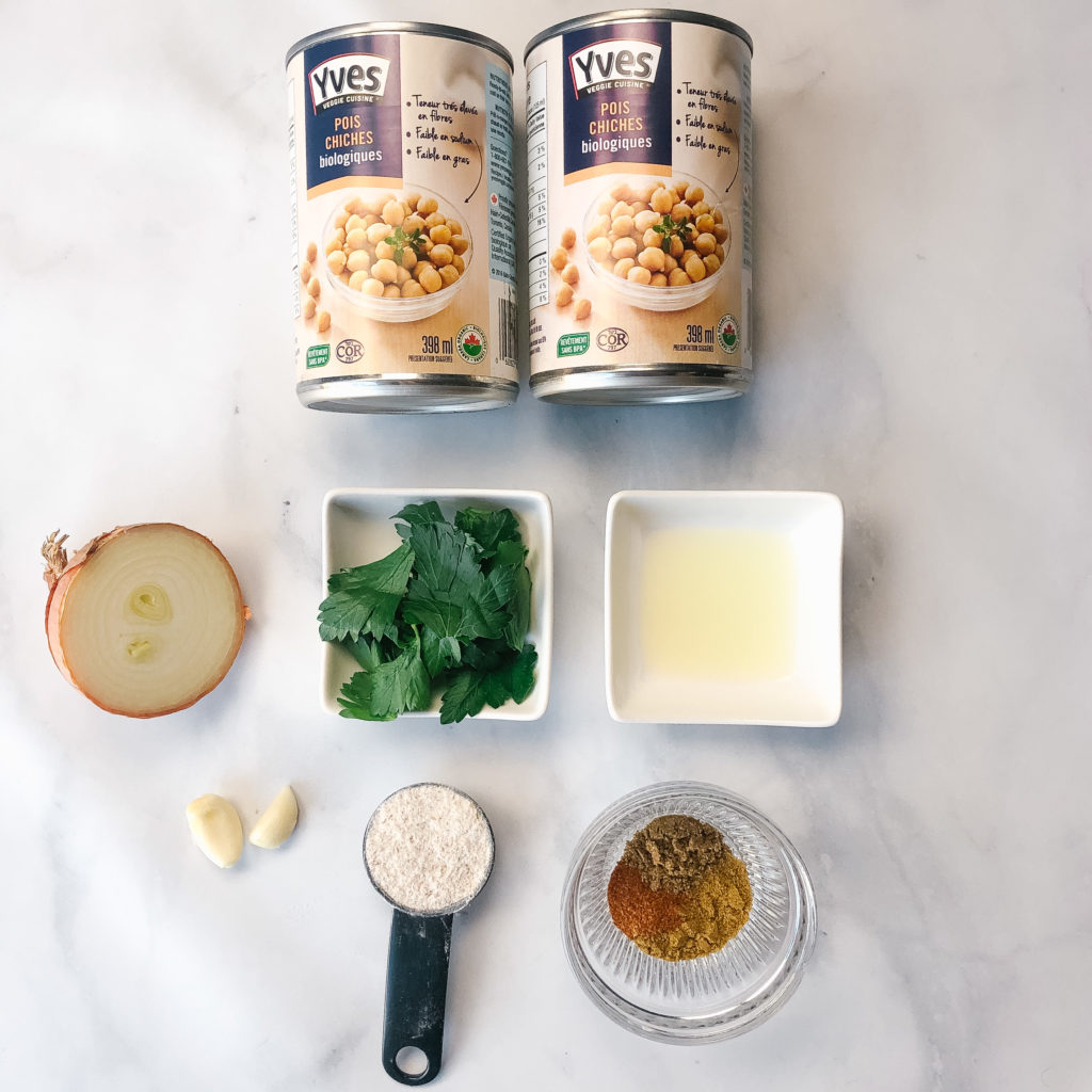 Falafel Inspired Chickpea Patties with Garden Salad and Tzatziki - Ingredients