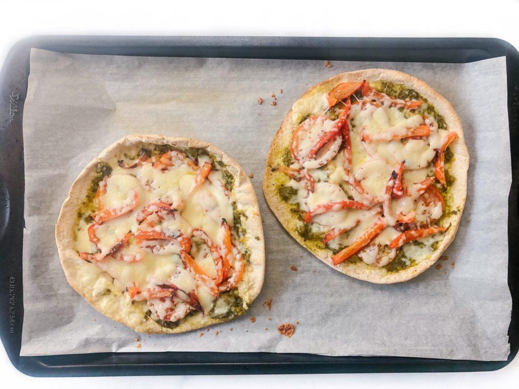 quick and easy lentil pesto pita pizzas
