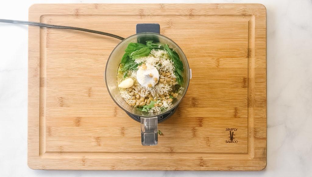 Lentil Pesto ingredients in food processor