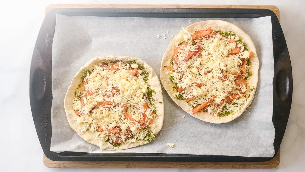 lentil pesto pita pizzas