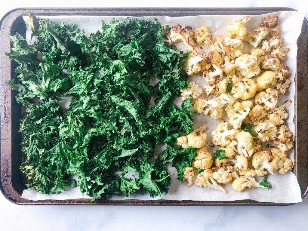 roasted kale and cauliflower