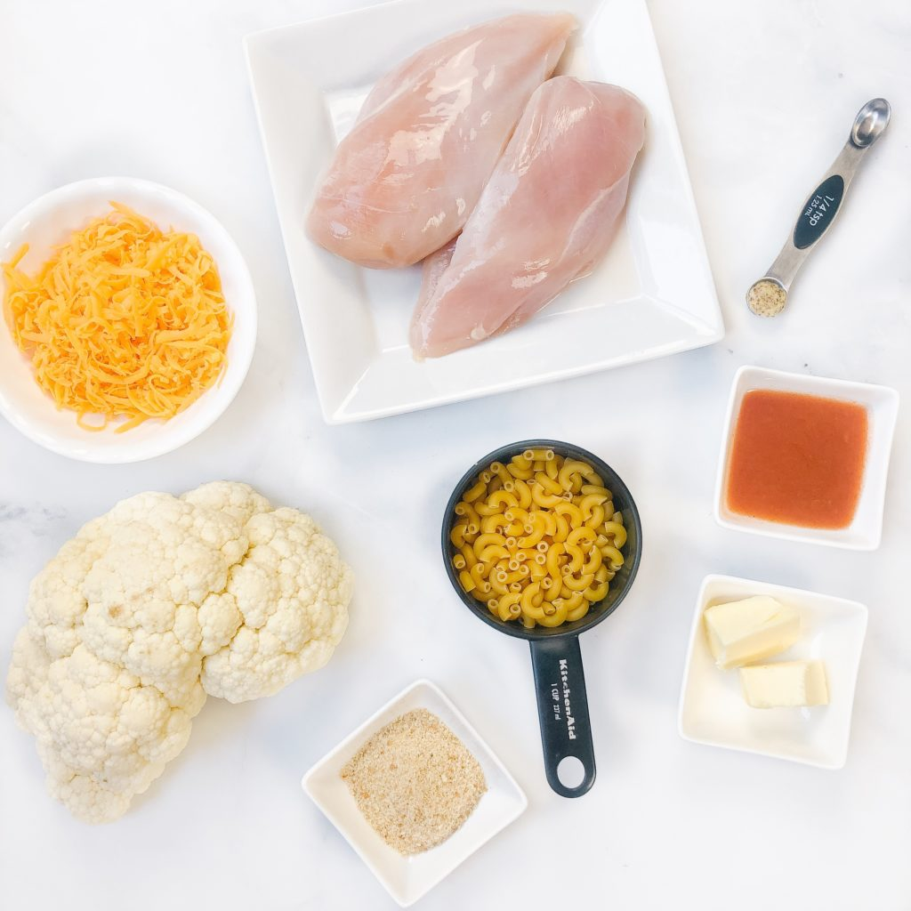 ingredients for roasted cauliflower mac and cheese with buffalo chicken bites