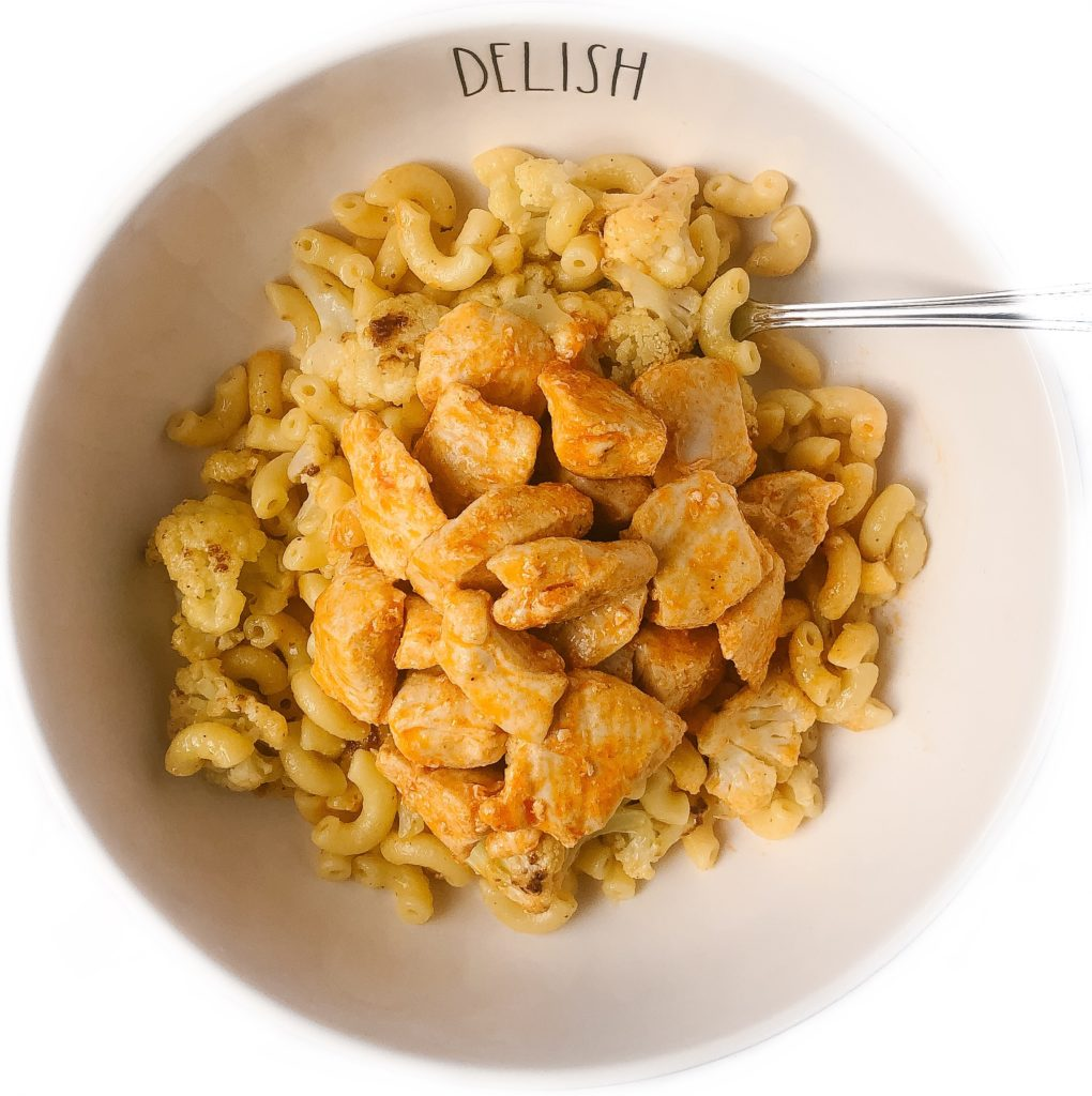 roasted cauliflower macaroni and cheese with buffalo chicken bites