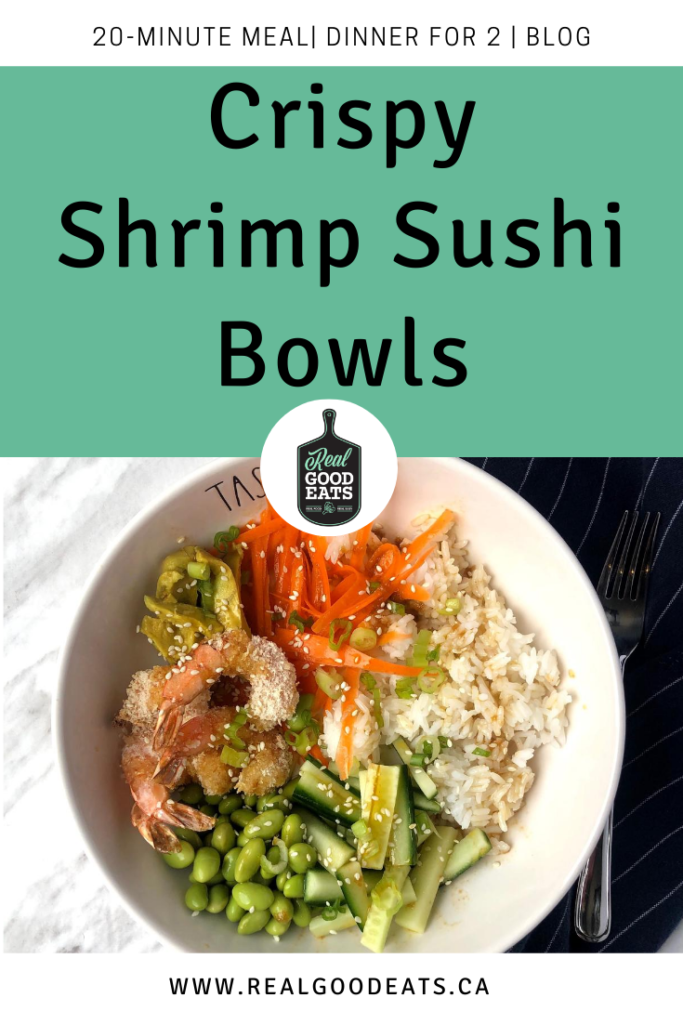 Crispy Shrimp Sushi Bowls - Blog Graphic