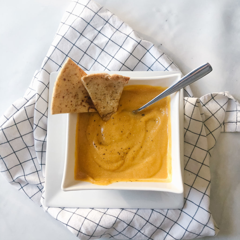 Easy high protein butternut squash soup with tofu and pita whips