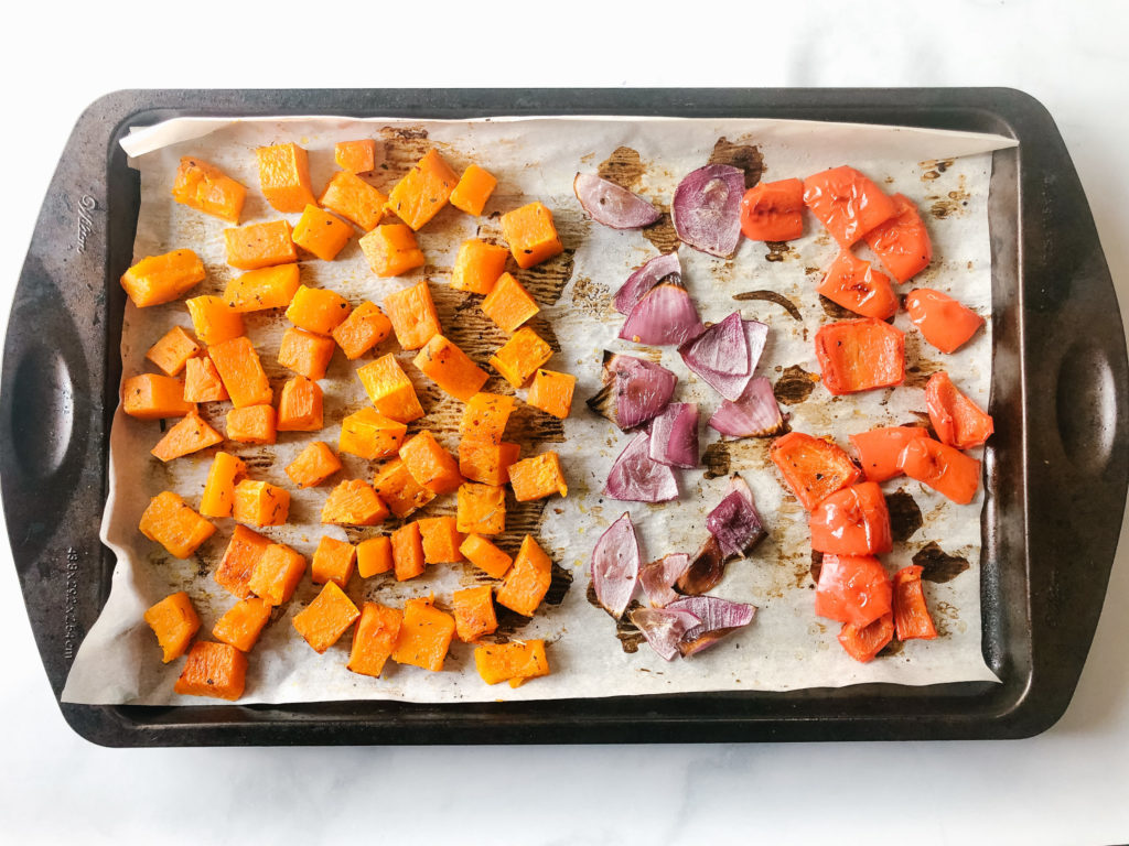 roasted butternut squash, peppers and red onion