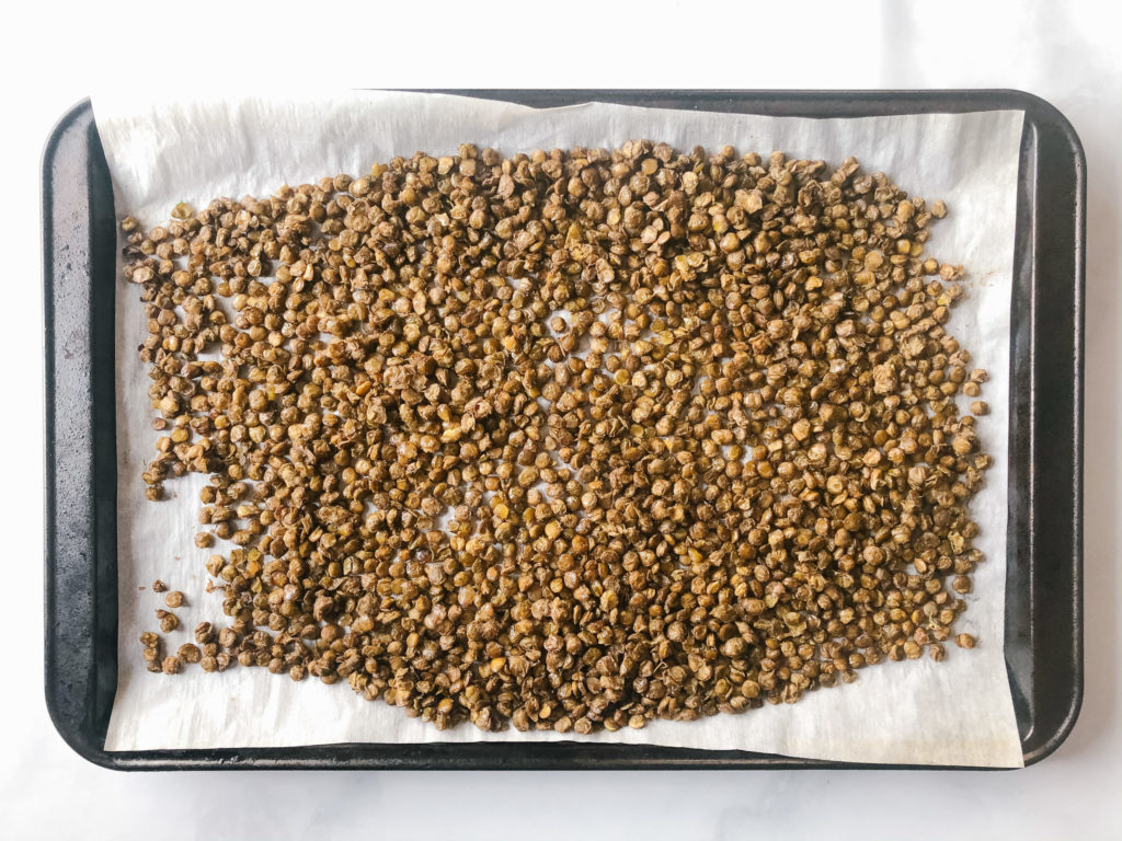 Roasted lentils on a sheet pan
