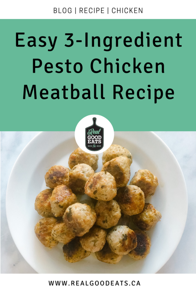 easy 3-ingredient pesto chicken meatball recipe blog graphic
