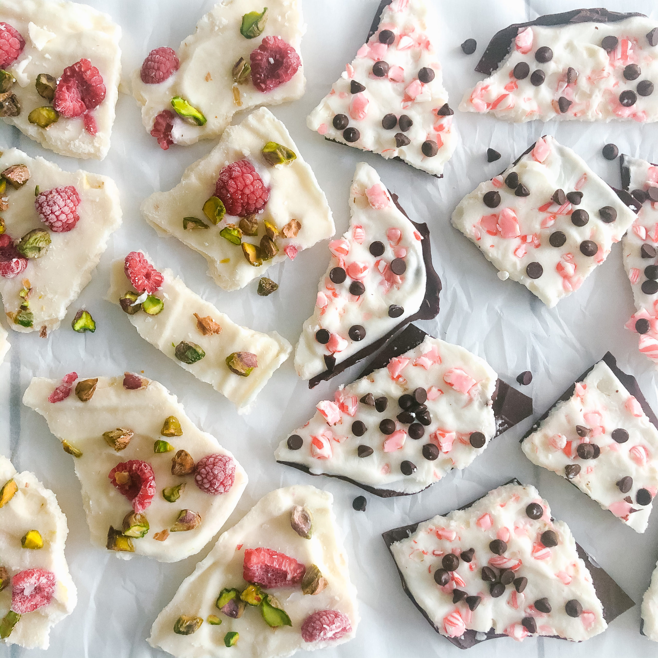 Healthy Holiday Frozen Greek Yogurt Bark 2 Ways