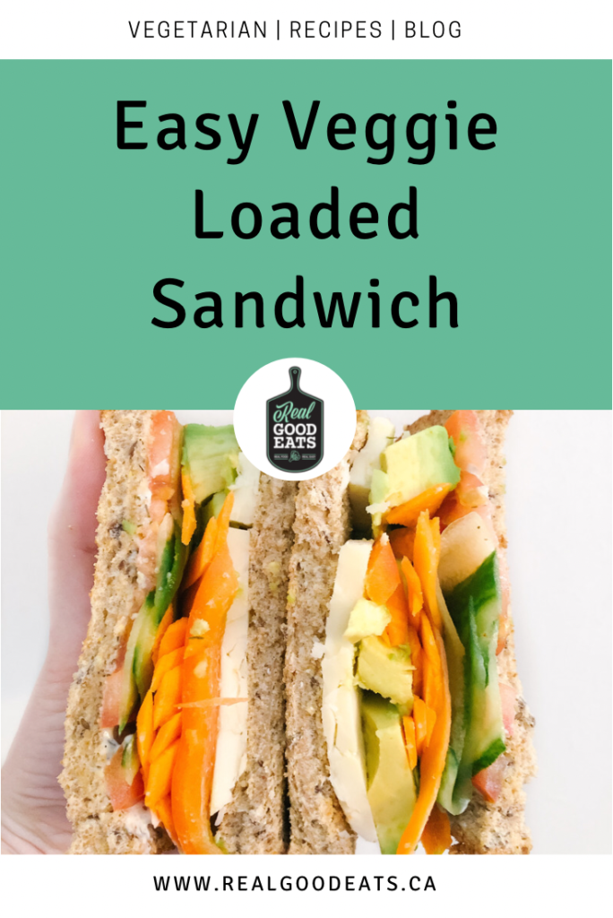 Easy veggie loaded sandwich - blog graphic