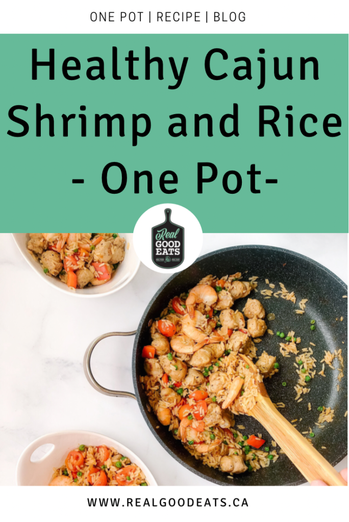 healthy cajun shrimp and rice (one pot recipe) - blog graphic