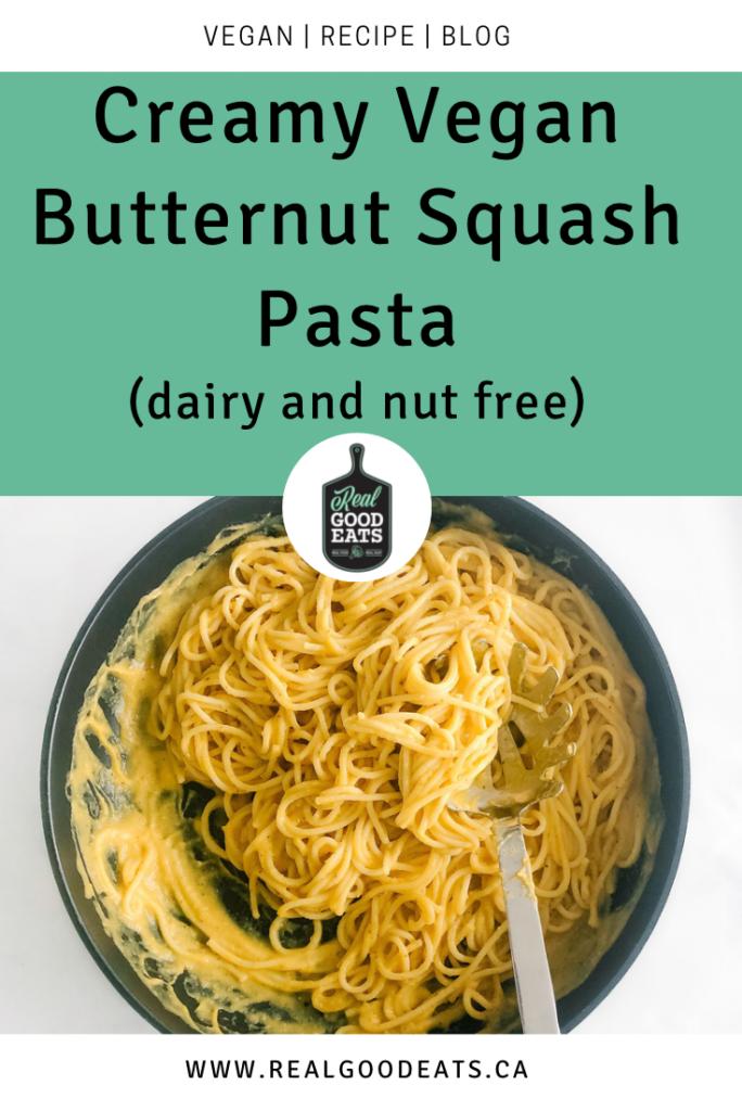Creamy vegan butternut squash pasta - blog graphic