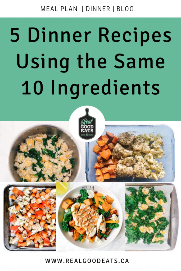 Dinner recipes using the same 10 ingredients - blog graphic