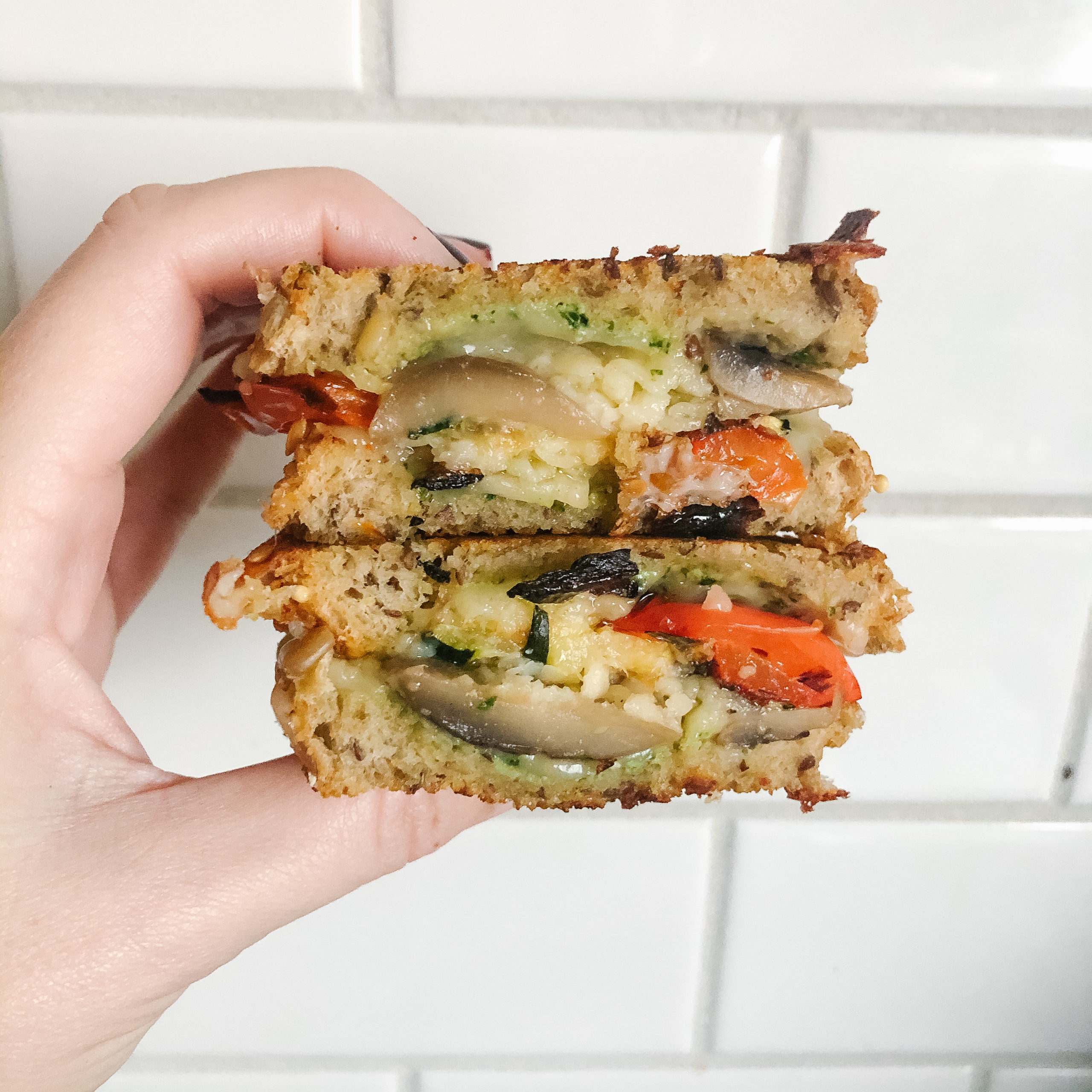 Leftover Roasted Vegetable Grilled Cheese