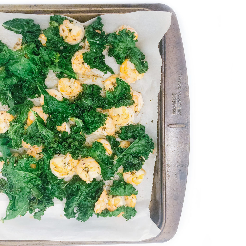 5 Dinner Recipes Using the Same 10 Ingredients - Sheet pan garlic shrimp and kale
