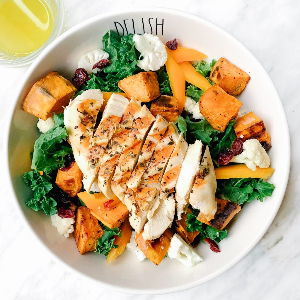 5 Dinner Recipes Using the Same 10 Ingredients - Sweet potato kale salad with grilled chicken