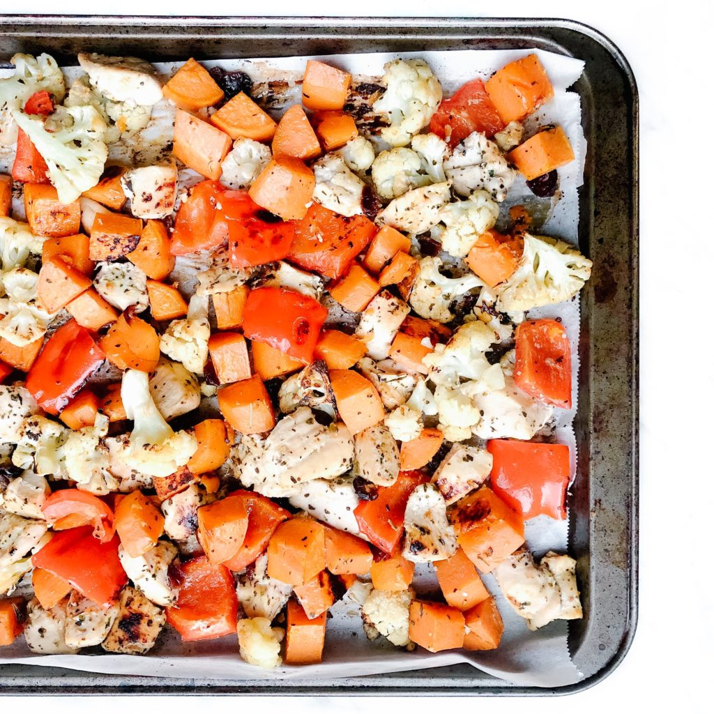 5 Dinner Recipes Using the Same 10 Ingredients - one pan roasted sweet potato chicken and cauliflower