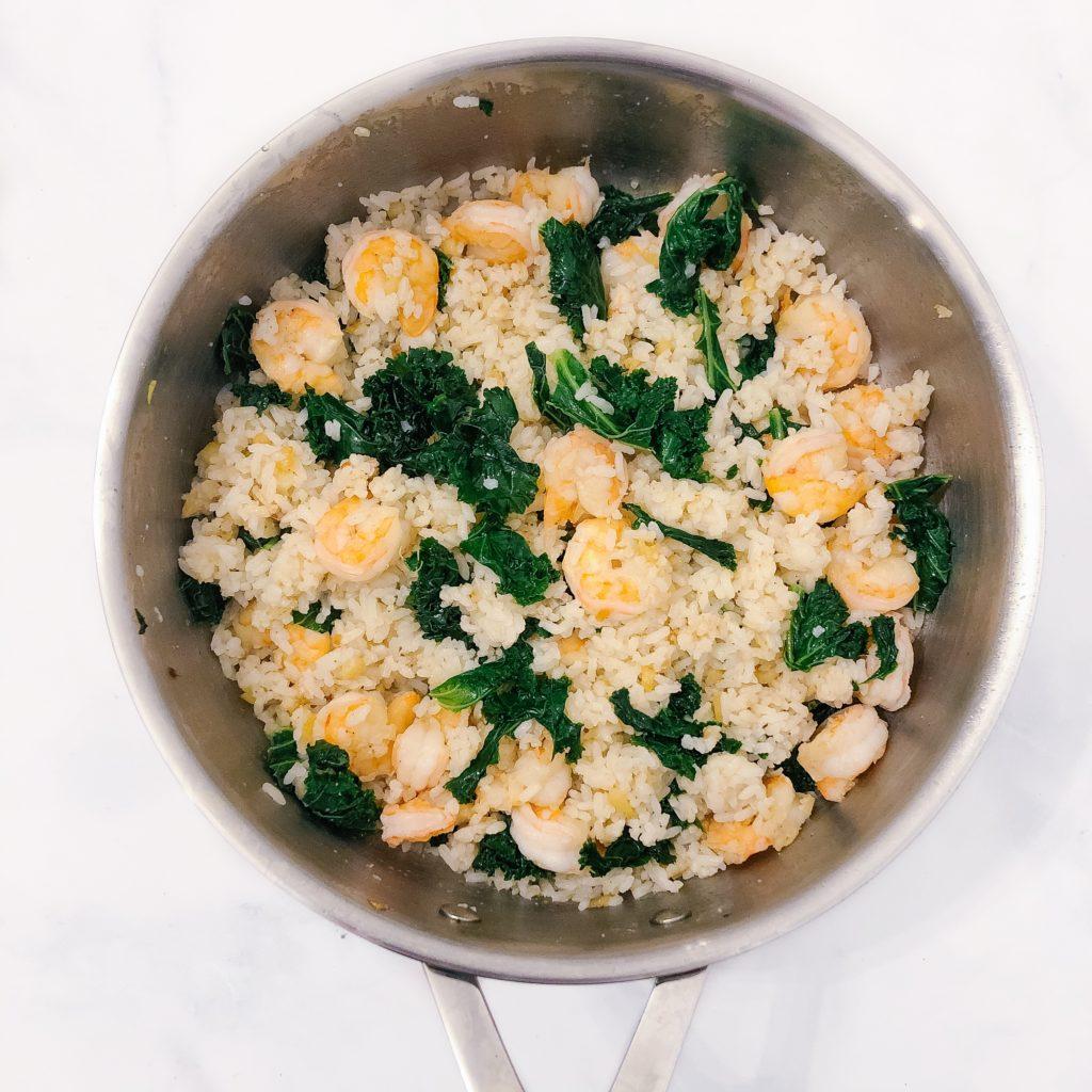 garlic kale shrimp fried rice